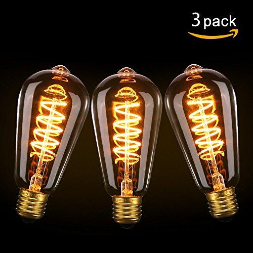 Edison LED Ampoule Lampe Vintage, Elfeland® E27 Lampe Retro Ampoule Décorative (3W 85–265 V 2200K )- Model ST64 (φ64mm)