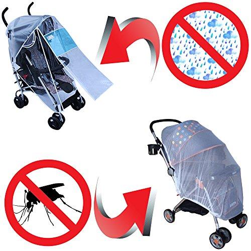Traspirante parapioggia universale per passeggino & portatile zanzariere ( 2-piece set ) antivento, impermeabile facile da installare e rimuovere