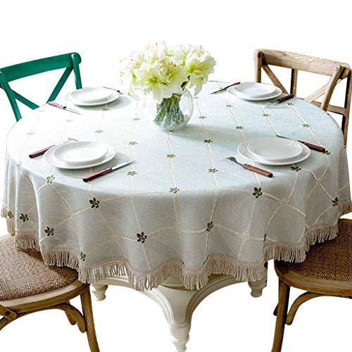 Couverture ronde de table carrée anti-poussière pour la grande table ronde en tissu de lin de coton de nappe ronde pour la décoration de dessus de table de fêtes intérieures ou extérieures