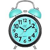 Chycet Despertador, Alarm Clock for kids, Clásico Doble Campana Despertador con Luz de Noche, Reloj de Cuarzo Analógico con Fuerte Alarma. (Azul)