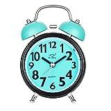 Doppelglockenwecker, Chycet Wecker Lauter Alarm mit Nachtlicht Kein Ticken geräuschlos für Schlafzimmer und Tiefschläfer, Blau.