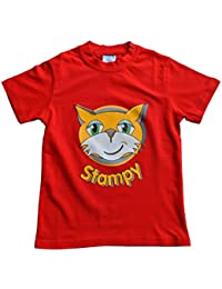 ThePyjamaFactory Girls Boys Unisex Stampy Cat Unisex T-Shirt You Tuber Stampylongnose Youtube Tee Face Red