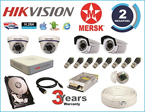 Hikvision 4 Ch Turbo HD Dvr & Mersk Full HD (2MP) CCTV Camera Kit with (All Required Accessories) Note : No Installation Service