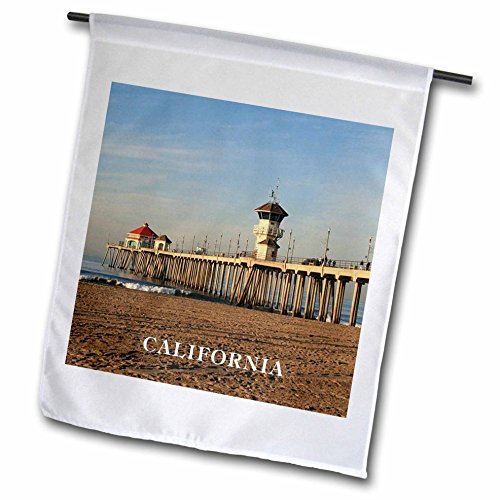 3dRose FL_80862_1 Pier at Huntington Beach California Garden Flagge, 30,5 x 45,7 cm - Huntington Rose