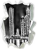 Monocrome, Dubai Burj al Arab Papier im 3D-Look, Wand- oder Türaufkleber Format: 62x45cm, Wandsticker, Wandtattoo, Wanddekoration