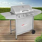 Broil-master BBQ Gasgrill | Edelstahl Deckel, Grillstation mit 4 Brenner | Grillfläche 56,8 x 21 cm | Farbe: Silber