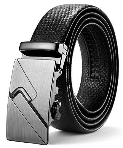 ITIEZY Herren Gürtel Ratsche Automatik Gürtel für Männer 35mm Breit Ledergürtel, Schwarz 130, Länge: Bis zu 49,21 Inches (125cm) -