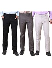 York Style Cotton Rayon Formal Trouser For Men, Set Of 3