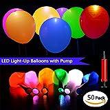 HogarTech 50pcs LED Globos de Resplandor Globos Luces de Flash Multicolor Globos del Partido con una Bomba de Globos Globos Decorativa para Boda, Fiesta, Navidad, Cumpleaños