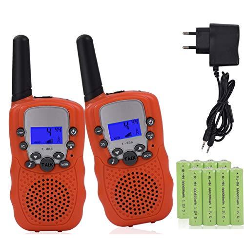 Miavogo 2 x Walkie Talkie Set für Kinder PMR Funkgerät mit LC-Display + Taschelampe - Reichweite bis zu 3 Km, Orange