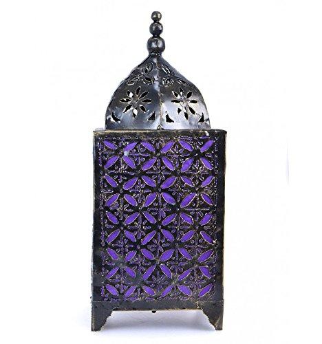 Lampada marocchina in ferro forgiato + tessuto viola h45cm stile orientale
