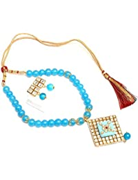 Stunning Jewels Blue Color Beaded Necklace Set For Women