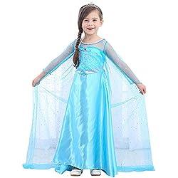 URAQT Disfraz de Princesa Frozen Elsa, Traje del Vestido Traje de Princesa de la Nieve Vestido Infantil Disfraz de Princesa de Niñas para Frozen Themed Fiesta Cumpleaños Halloween Traje Fiesta (120)