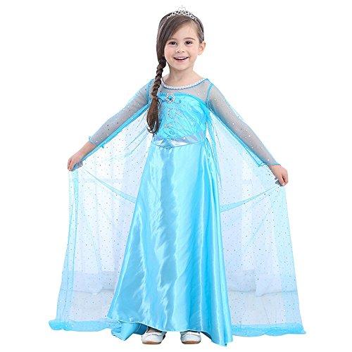 URAQT Elsa Deguisement Robe Reine des Neiges Princesse avec Manche Longue pour Carnaval / Anniversaire / Halloween / Ceremonie - Bleu - Taille 130(Longueur:95cm)