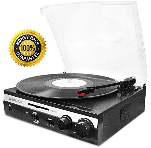 DIGITNOW!Tocadiscos Estéreo seleccionable Retro,plato giradiscos vinilo 3 Velocidades 33/45/78 RPM con Altavoces Incorporados Salida USB PC Digitalizador Vinilos, Codificador a MP3, Entrada Linea AUX