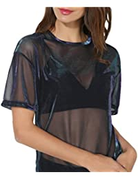 Solike Tops Femme Sexy Blouses Femme Chemisiers à Manches Courtes Col Rond Transparent  Tunique Couture Casual 9e7042b049a7
