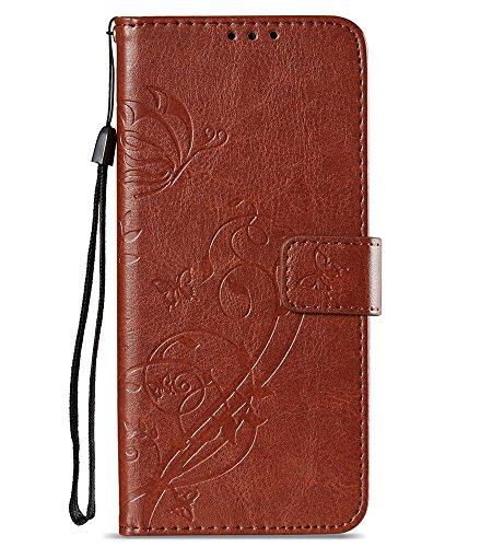 S9Plus Wallet Tasche, Galaxy S9Plus Case, jancalm [Ständer] [Card/Cash Slots] [Handschlaufe] [3D Bemalt] Premium PU-Leder Falten Flip Tasche Cover + Crystal Pen, Flower - Brown