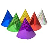My Planet 18 x Assorted Colour Classic Holographic Foil Party Cone Hats