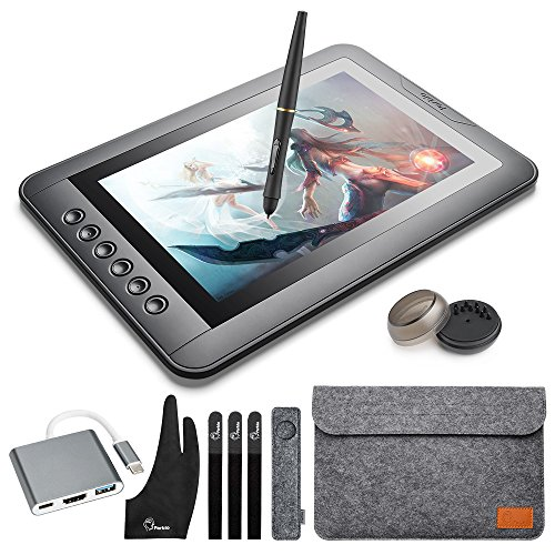 Grafikmonitor Zeichnentablett Parblo mast10 10.1 zoll Graphic Tablet Monitor mit Tastenkombinationen und batterielosen Stift Passive Stylus + USB 3.1 Typ C Kabel Adapter für Windows Macbook