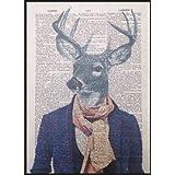 Tête de cerf hipster Imprimé Vintage Dictionnaire Page mur Art Photo Animal Cerf