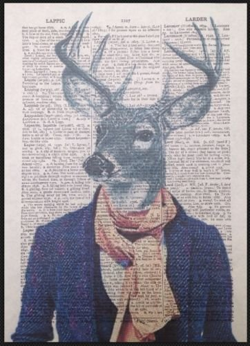 tete-de-cerf-hipster-imprime-vintage-dictionnaire-page-mur-art-photo-animal-cerf