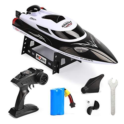 Haunen 2,4GHz RC Boat - Ferngesteuertes Boot 35KM/H High Speed Fernbedienung Wasser Geschwindigkeit Boot - Fernbedienung Spielzeug für Anfänger und Kinder (Schwarz)