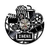 Wanduhr Aus Vinyl Schallplattenuhr Popcorn Design-Uhr Wand-Deko Vintage Familien Zimmer Dekoration Schwarz / Durchmesser 30 Cm,B