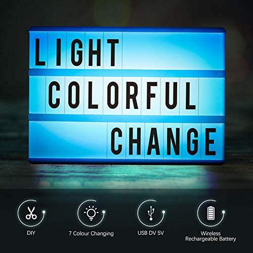 Light Box A6,CrazyFire LED Ricaricabile Cinema Box Luminosa Cinematografica Lampada,140 Lettere e Digitale,Utilizzato in Feste,Tag da Ufficio,Appuntamenti,Decorazioni da Bar(Illuminazione in 7 Colori) - 3