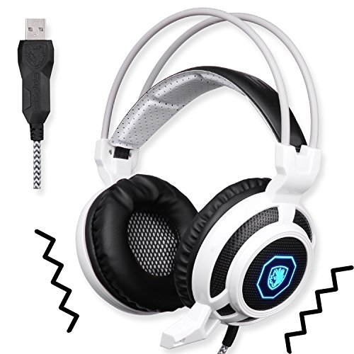 SADES SA905 Wired USB PC Gaming Headset Over-Ear headband Headphones with Microphone Vibration LED Lights(Black&White) 51V0hJswAQL
