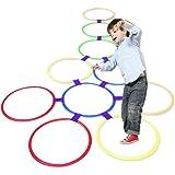 Romote Hopscotch Ring Game Toys 10 Multicolores Anneaux en Plastique Et 9 Connecteurs pour Intérieur Ou Extérieur…