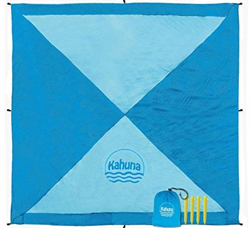 Kahuna Strandtuch aus Fallschirmseide – XXL 245 x 245 cm – die größte Stranddecke, Picknickdecke, Campingdecke erhältlich – tragbar, ultraleicht, schnell trocknend, mit 12 Sandtaschen