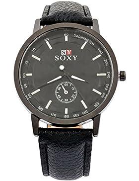 MJartoria Herren Damen Armbanduhr Quarz Analog Sportuhr PU Leder Business Stil mit Datumanzeige Schwarz