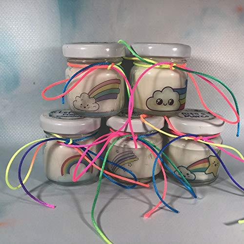 5 mini candele profumi misti segnaposto arcobaleno in vasetto con tappo personalizzato matrimoni comunioni battesimi compleanni anniversari nozze oro argento country shabby chic ricordo per gli ospiti