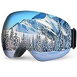 TOPELEK Lunettes de Ski Masques et Lunettes Ski Snowboard, Lunettes de Protection Lens Anti-Poussière, Lunettes Equitation Coupe-Vent pour Hommes et Femmes