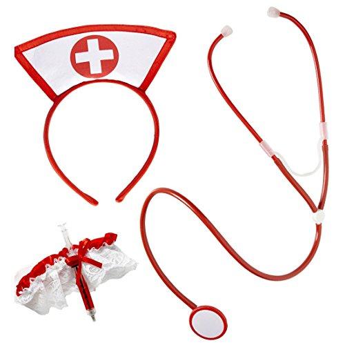 Imagen de disfraz de enfermera vestuario cofia jeringa liga estetoscopio accesorios alternativa