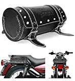 #6: Generic (unbranded) 83360 Round Saddle Bag for Royal Enfield (Black)