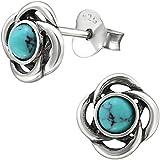 f1d04f560a65 EYS JEWELRY Keltischer Knoten Damen Ohrstecker 925 Sterling Silber oxidiert Türkis  grün-blau 8 mm Ohrringe Damen-Schmuck
