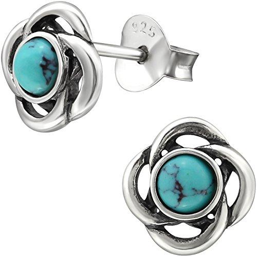 EYS JEWELRY Keltischer Knoten Damen Ohrstecker 925 Sterling Silber oxidiert Türkis grün-blau 8 mm Ohrringe Damen-Schmuck