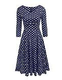 Zeela Damen Herbst Retro Vintage 50er Kleid mit Punkten 3/4 Ärmel Swing Rockabilly Abendkleid Partykleid Cocktailkleid Petticoat
