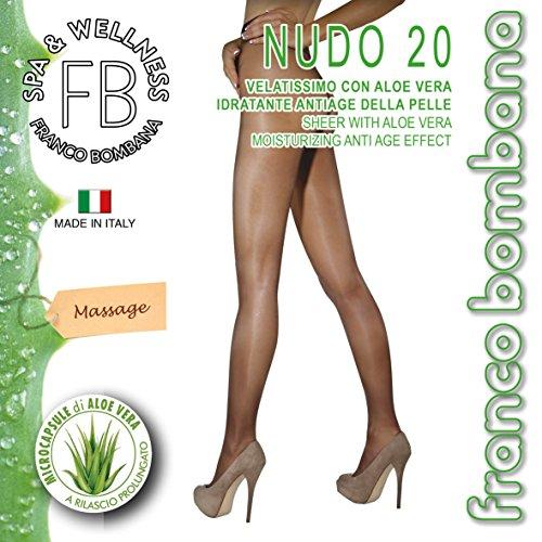 Franco Bombana Wellness COLLANT di Bellezza, Nudo 20 & Aloe Vera | Velatissimo con ALOE VERA Idratante e Antiage Della Pelle - Calze da Donna, Colore Naturel, Taglia III