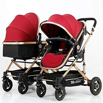 BABY CARRIAGE ZLMI Cochecito de bebé Gemelo Alto Paisaje Sentado/Respaldo Ligero Plegable Desmontable Ultra Ligero Amortiguador BB Trolley 0-3 años de Edad,Red