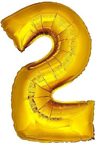 DekoRex número Globo decoración cumpleaños Brillante para Aire y Helio en Oro 120cm de Alto No. 2