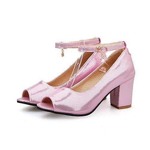 AllhqFashion Damen Schnalle Weiches Material Fischkopf Schuhe Sandalen Mit Hohem Absatz Pink
