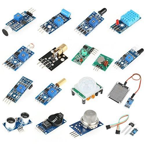 Akozon Sensori Arduino, 16 pz Kit di Sensori Modulo Imparare Kit Progetto Super Starter Kit per Raspberry Pi e Arduino
