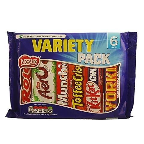Nestle Chocolate Variety Pack (6 bars) Toffee Crisp, Kit Kat, Yorkie, Mint Aero, Munchies, Rolos.