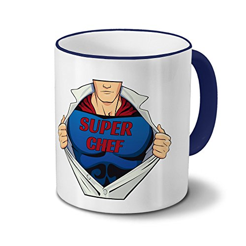 Tasse mit Namen Super Chef - Motiv Super - Namenstasse, Kaffeebecher, Mug, Becher, Kaffeetasse - Farbe Blau