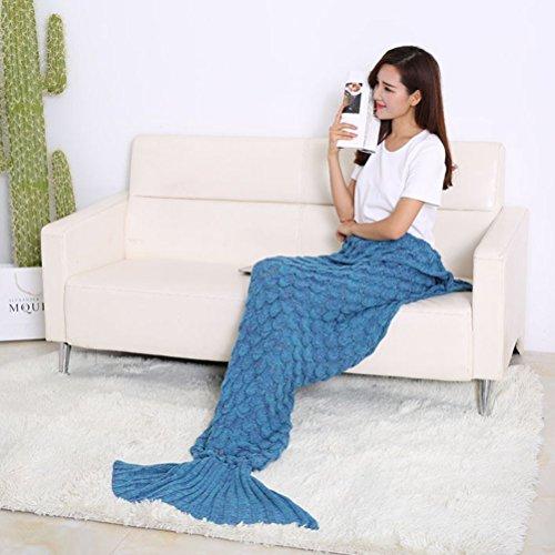 Handgefertigt Meerjungfrau Decke Sofadecke Schlafsack Mermaid Blanket Houseware Decke 78''*36'' Blau