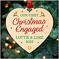 HEART Our First Christmas Engaged Couple Personalised Engagement Christmas Gifts for Fiance Fiancee Christmas Tree Decoration Bauble Ornament - Printed Birch Wood Christmas Tree Ornament - Keepsake 1st Christmas Gifts Presents - Perfect Christmas Gifts for Engaged Couples Son Daughter