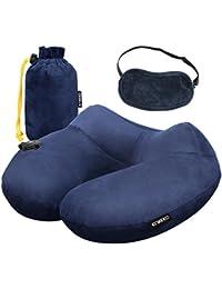 Enkeeo - Almohada cervical hinchable, almohada de viaje inflable (diseño ergonómico, cubierta desmontable de terciopelo suave, bolsa de transporte, antifaz, soporte de cuello) Azul