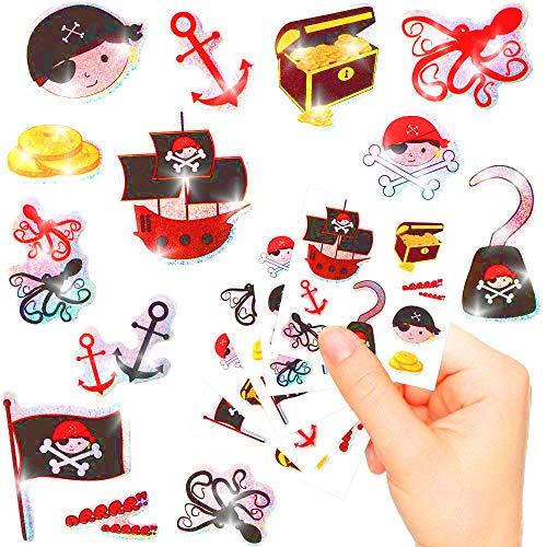 (German Trendseller - Kleine Piraten Glitzer Sticker Bögen ┃ Neu ┃ Pirat ┃ Kindergeburtstag ┃ Mitgebsel ┃ Schatzsuche ┃ Aufkleber für Kinder ┃ 6 Bögen)